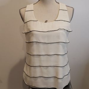 2/$40 ANN TAYLOR Striped Tiered Ruffled Tank Top